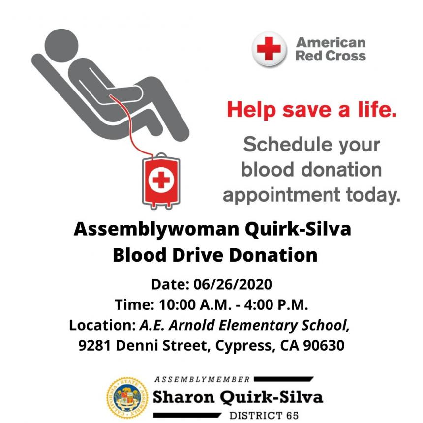 Assemblywoman Quirk-Silva and American Red Cross host a blood drive on June 26