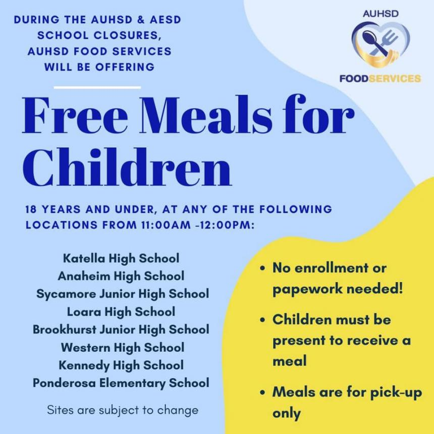 Anaheim Elementary and AUHSD Free Meals for Children