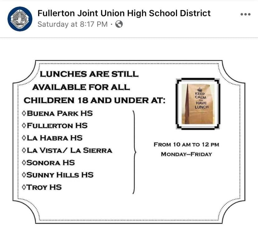 Fullerton Joint High School District Meal